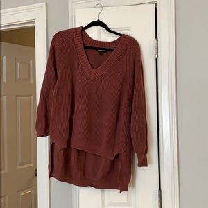 Mauve High-low V-neck Swearer